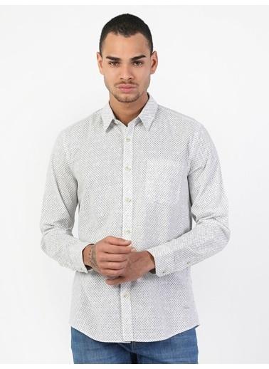 Colin's Colin'S Uzun Kol Dar Kesim Tek Cepli Shirt Neck Erkek Gömlek Beyaz